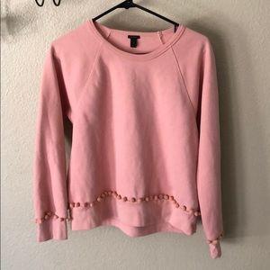 J Crew pink Pom Pom pullover sweatshirt size S